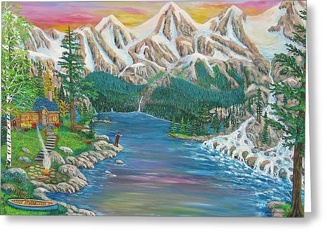 Canoe Waterfall Paintings Greeting Cards - Mountain of Serenity Greeting Card by Mike De Lorenzo