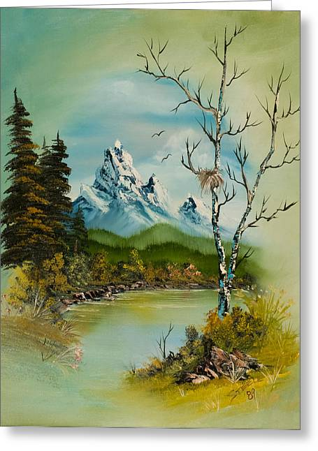 Bob Ross Paintings Greeting Cards - Lonely Peaks  Greeting Card by C Steele