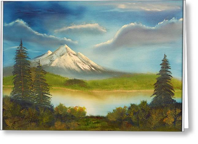 Bob Ross Paintings Greeting Cards - Mountain Overlook Greeting Card by Joyce Krenson
