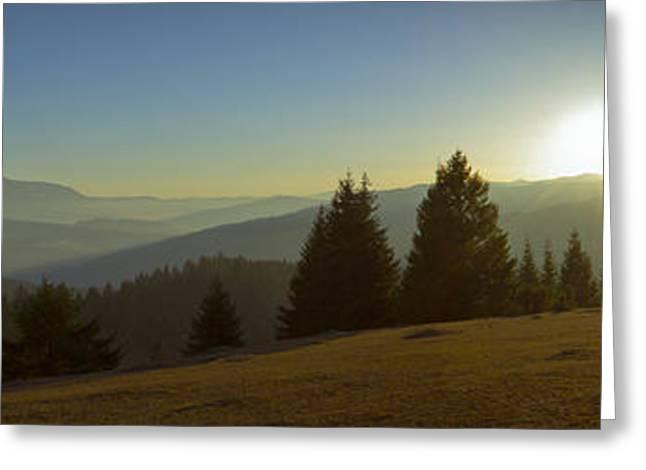 Mountain Panorama At Sunset With Beautiful Sun Glare Greeting Card by Vlad Baciu