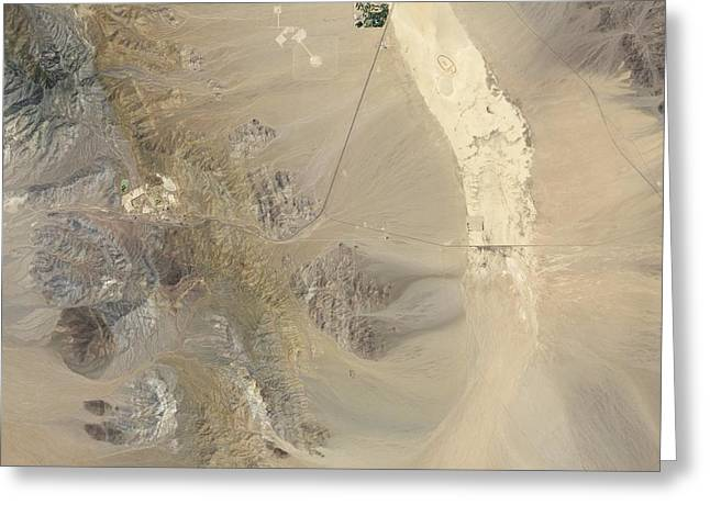 Dry Lake Greeting Cards - Mountain Pass Mine and surroundings Greeting Card by Science Photo Library