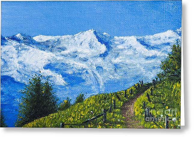 Ground Mixed Media Greeting Cards - Mountain path Greeting Card by Svetlana Sewell