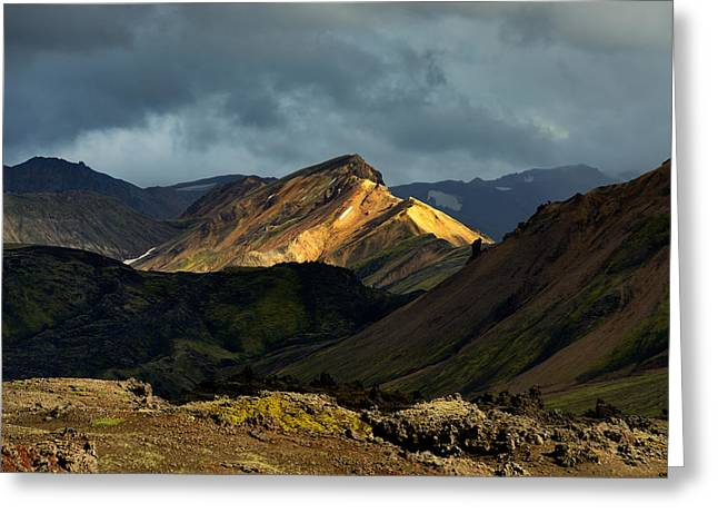 Summer Storm Greeting Cards - Mountain peak illuminated by evening sunlight in Iceland Highlands Greeting Card by Yevgen Timashov