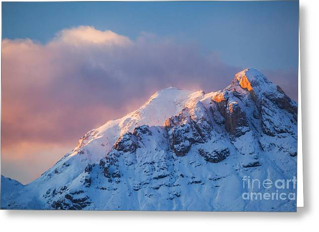Italian Sunset Greeting Cards - Mountain peak in the italian alps at sunset Greeting Card by Matteo Colombo