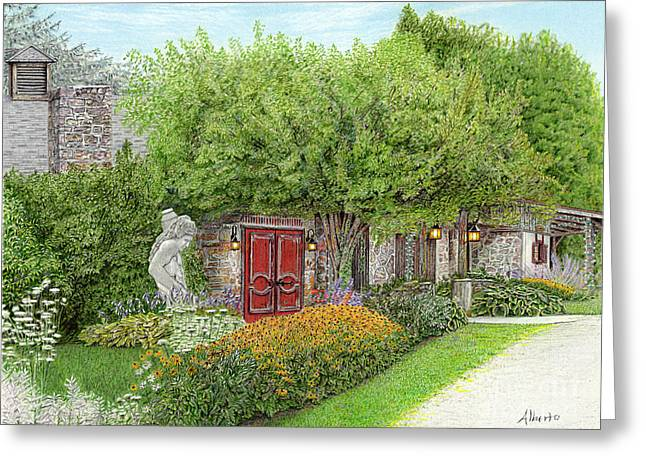 Pa Drawings Greeting Cards - Mountain Playhouse Jennerstown PA Greeting Card by Albert Puskaric