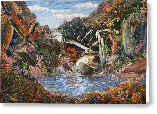 James Paintings Greeting Cards - Mountain Pool Greeting Card by James W Johnson