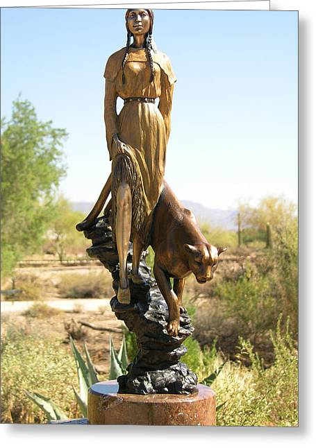 Mountains Sculptures Greeting Cards - Mountain Pride Bronze Sculpture Greeting Card by J Anne Butler