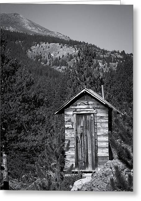 Julie Magers Soulen Greeting Cards - Mountain Privy BW Greeting Card by Julie Magers Soulen
