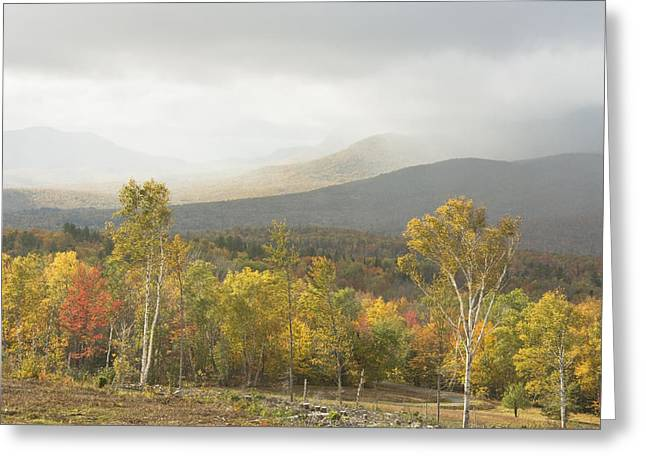 Maine Landscape Greeting Cards - Mountain Rainstorms In Fall Mount Blue State Park Weld Maine Greeting Card by Keith Webber Jr