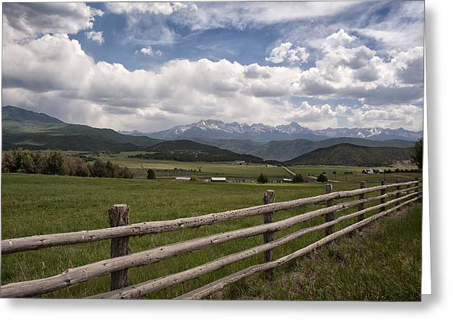 Best Seller Greeting Cards - Mountain Ranch Greeting Card by Melany Sarafis
