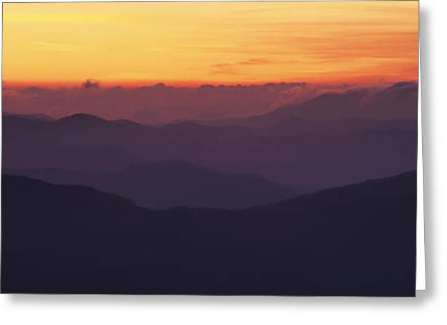 Smoky Greeting Cards - Mountain Range At Sunrise, Great Smoky Greeting Card by Panoramic Images