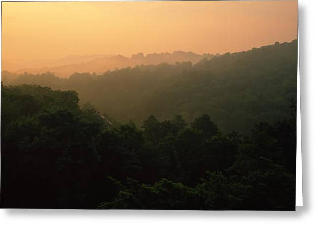 Panorama Mountain Images Greeting Cards - Mountain Range At Sunset, Great Smoky Greeting Card by Panoramic Images