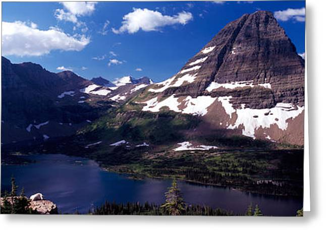 The Natural World Greeting Cards - Mountain Range At The Lakeside, Bearhat Greeting Card by Panoramic Images