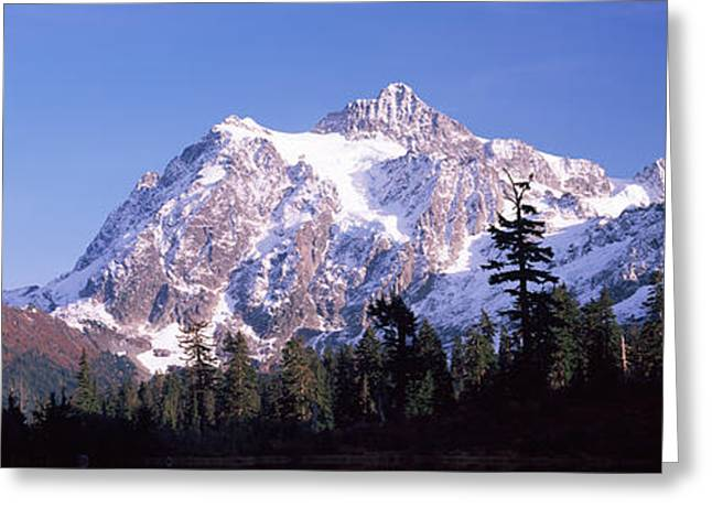 North Cascades Greeting Cards - Mountain Range Covered With Snow, Mt Greeting Card by Panoramic Images