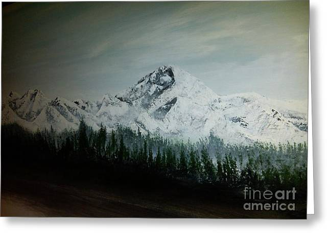 Mountain Range With Evergreens Greeting Cards - Mountain Range Greeting Card by Erik Coryell