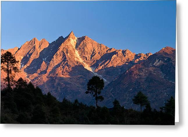 Panorama Mountain Images Greeting Cards - Mountain Range, Gonglha Peak Greeting Card by Panoramic Images