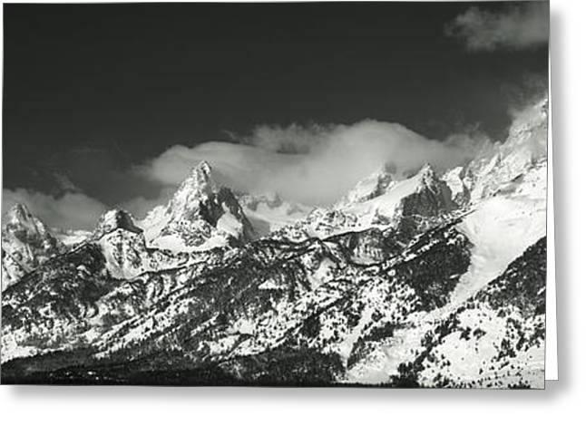 Geology Photographs Greeting Cards - Mountain Range, Grand Teton National Greeting Card by Panoramic Images