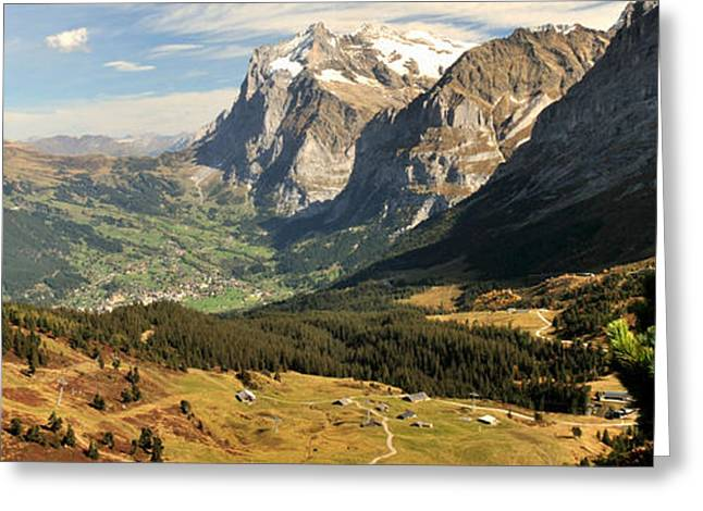 Swiss Alps Greeting Cards - Mountain Range, Grindelwald, Kleine Greeting Card by Panoramic Images