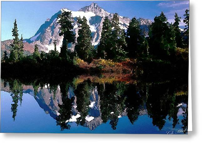 California Ocean Photography Drawings Greeting Cards - Mountain Reflection Greeting Card by Cole Black