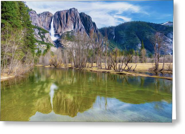 El Capitan Paintings Greeting Cards - Mountain Reflection in Lake Greeting Card by Lanjee Chee