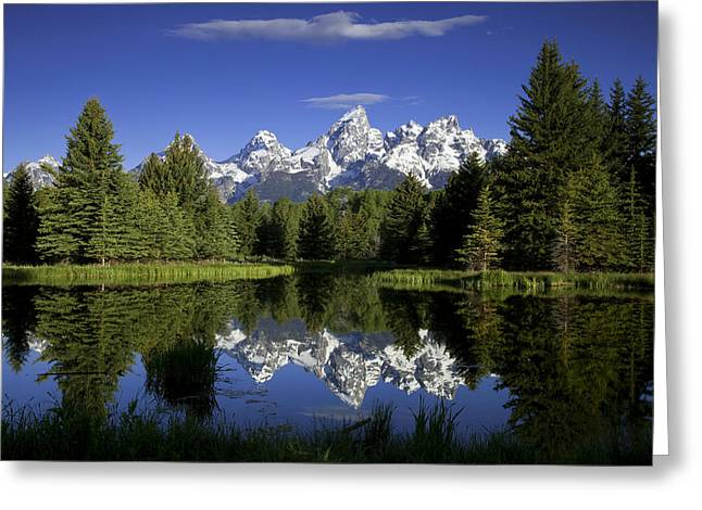 Calm Water Reflection Greeting Cards - Mountain Reflections Greeting Card by Andrew Soundarajan
