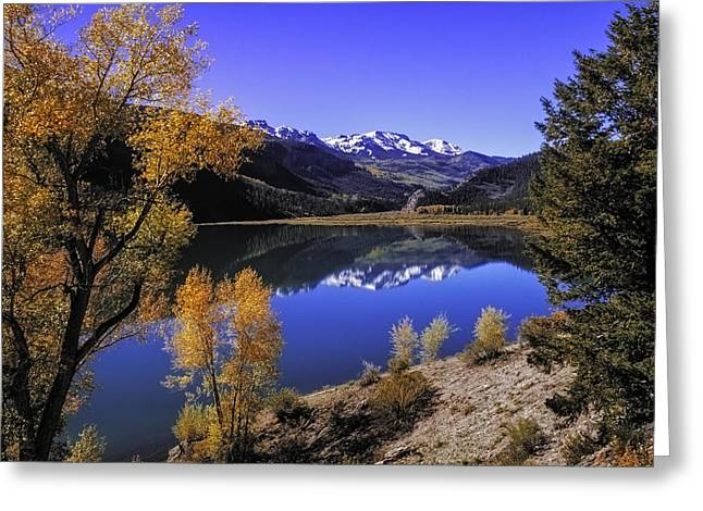 Scenic Drive Greeting Cards - Mountain Reflections Greeting Card by Teri Virbickis