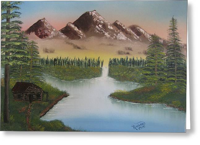 Bob Ross Paintings Greeting Cards - Mountain Retreat Greeting Card by Kimber  Butler
