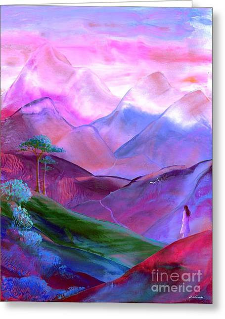 Calm Paintings Greeting Cards - Mountain Reverence Greeting Card by Jane Small