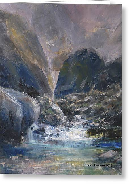Schmid Greeting Cards - Mountain River Greeting Card by Carlos Herrera