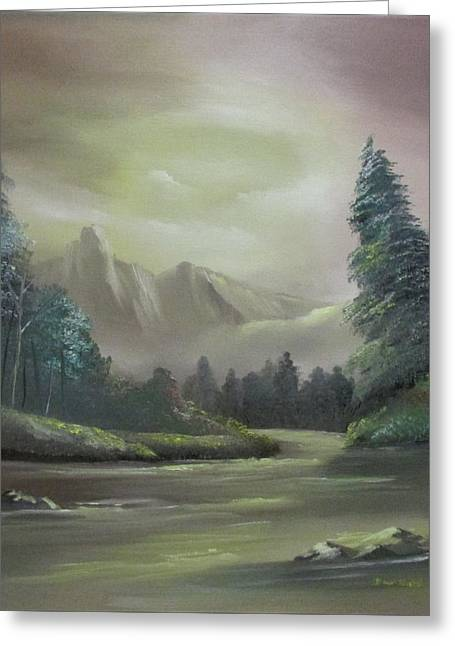 Mountain River Greeting Card by Dawn Nickel
