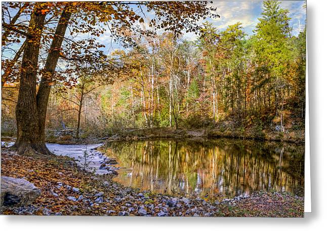 Reflections In River Greeting Cards - Mountain River Greeting Card by Debra and Dave Vanderlaan