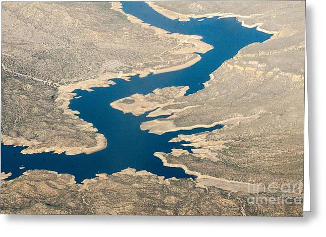Mountain River From The Air Greeting Card by Darleen Stry