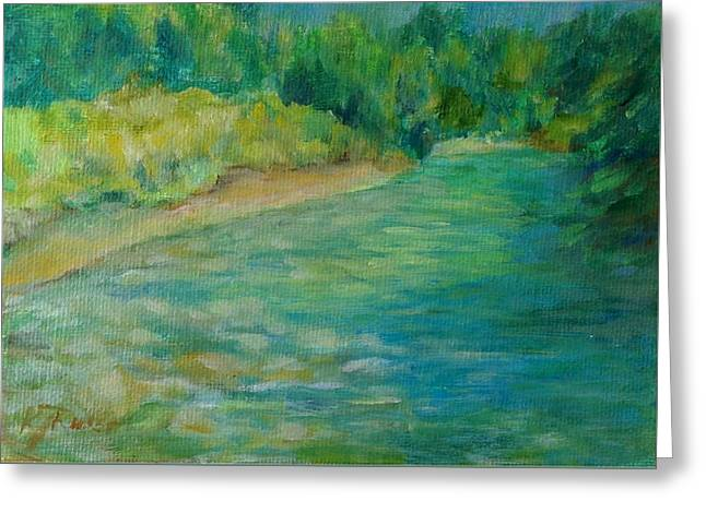 Mountain River In Oregon Colorful Original Oil Painting Greeting Card by K Joann Russell