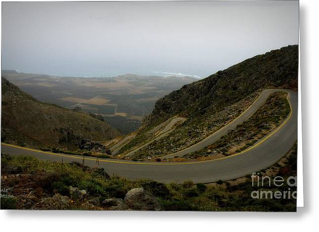 Mountain Road Crete Greeting Card by Lainie Wrightson