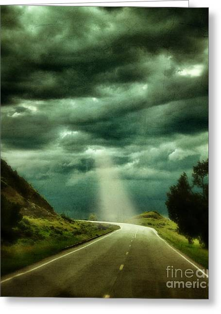 Rugged Terrain Greeting Cards - Mountain Road with Stormy Sky Greeting Card by Jill Battaglia