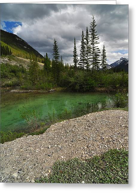 Mountain Scene Near A Small Pond In Kananaskis Country Alberta Canada Greeting Card by Michael Mckinney