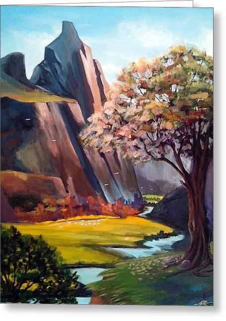 Shading On Flowers Greeting Cards - Mountain Scenery Greeting Card by Fariha Rashid