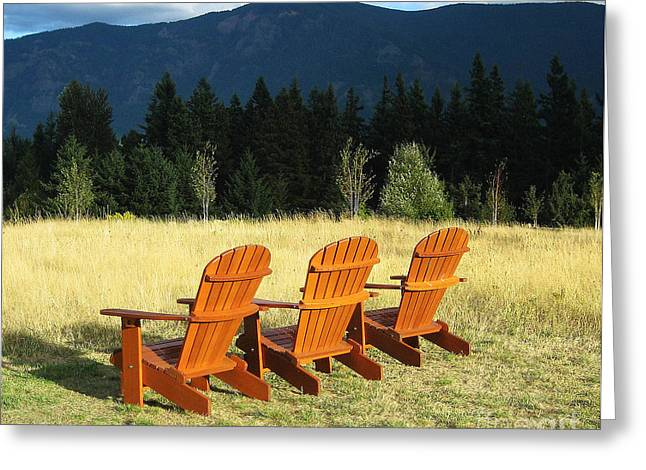 Lawn Chair Greeting Cards - Mountain Serenity Greeting Card by Steven Baier