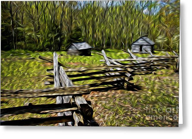 Appalachian Farm Greeting Cards - Mountain Settlement Greeting Card by Paul W Faust -  Impressions of Light