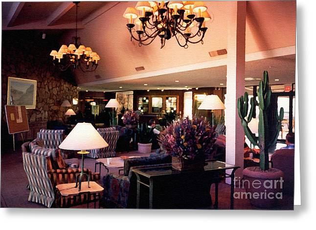 Camelback Mountain Greeting Cards - Mountain Shadows Lobby. Scottsdale Arizona 1993 Greeting Card by Connie Fox