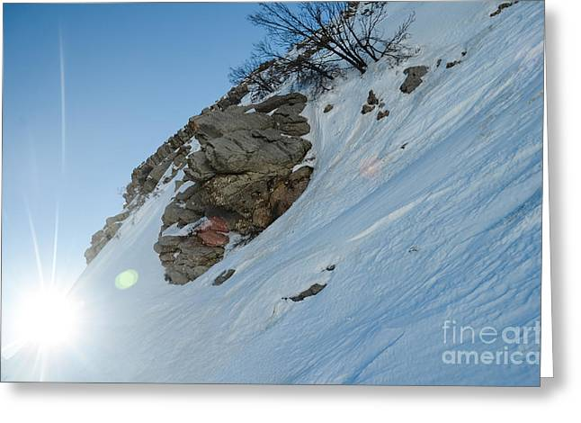 Amirp Greeting Cards - Mountain snow scape Greeting Card by Amir Paz