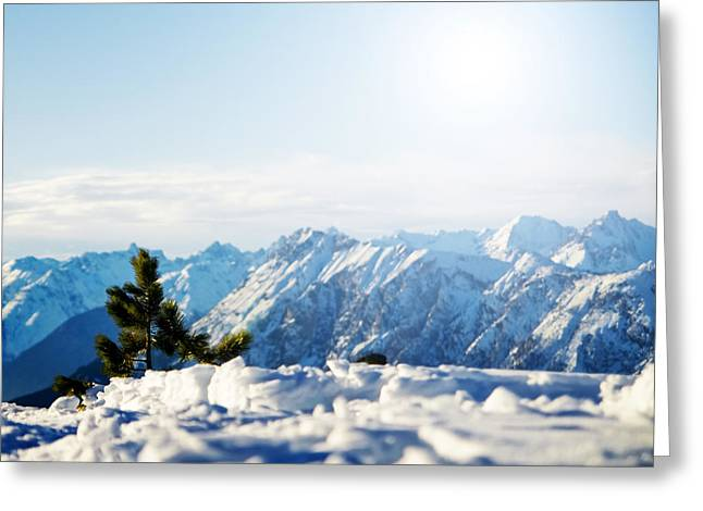 Snowy Day Greeting Cards - Mountain snowy winter scenery Greeting Card by Michal Bednarek