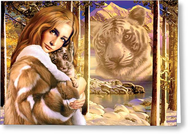 Tiger Photographs Greeting Cards - Mountain Spirits Greeting Card by Andrew Farley