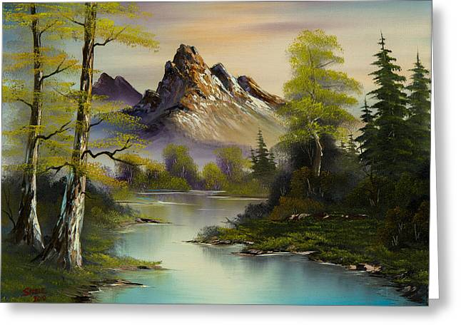 Bob Ross Paintings Greeting Cards - Mountain Evening Greeting Card by C Steele
