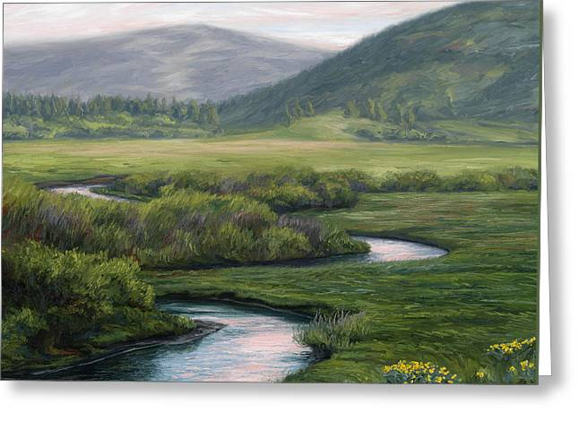 Summer Landscape Greeting Cards - Mountain Stream 1 Greeting Card by Lucie Bilodeau