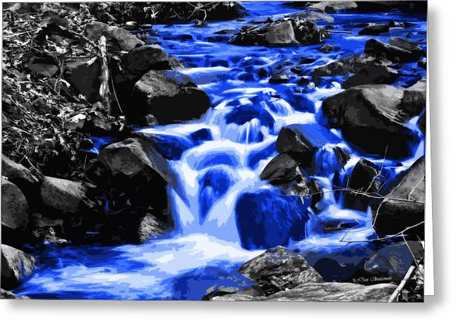 Rush-bed Greeting Cards - Mountain Stream Blue Greeting Card by Dan Stutzman