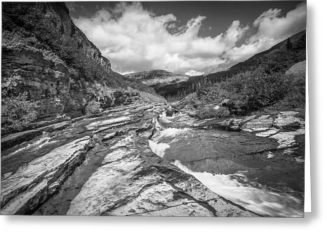 Clean Water Greeting Cards - Mountain Stream Glacier National Park BW  Greeting Card by Rich Franco
