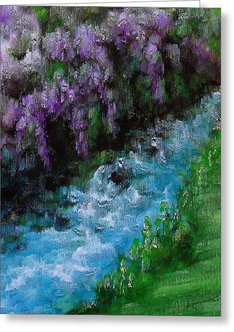 Mountain Stream Greeting Card by Kume Bryant