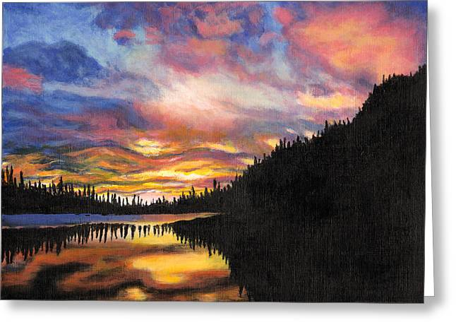 Backpacking Paintings Greeting Cards - Mountain Sunrise Greeting Card by Jennifer Frampton
