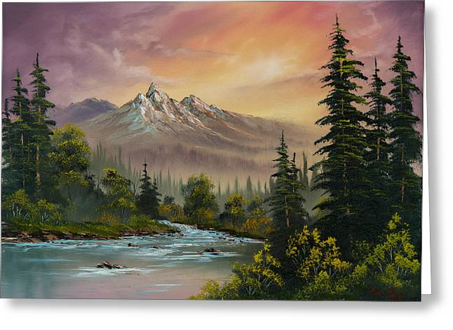 Bob Ross Paintings Greeting Cards - Mountain Sunset Greeting Card by C Steele